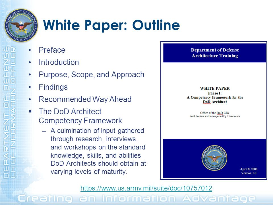 White Paper: Outline Preface Introduction Purpose, Scope, and Approach