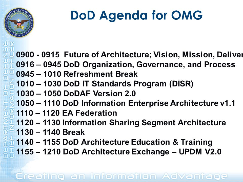 DoD Agenda for OMG 0900 - 0915 Future of Architecture; Vision, Mission, Deliver. 0916 – 0945 DoD Organization, Governance, and Process.
