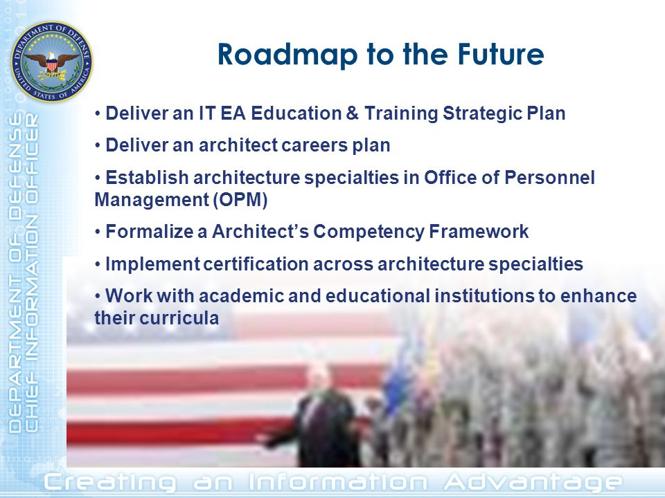 Roadmap to the Future Deliver an IT EA Education & Training Strategic Plan. Deliver an architect careers plan.