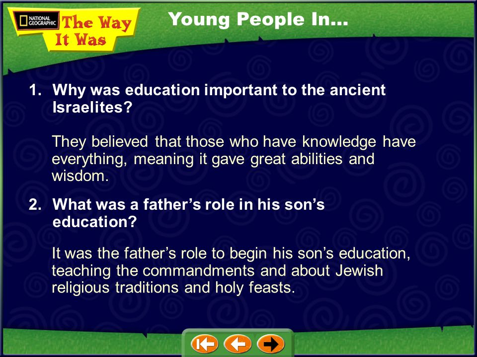 Young People In… 1. Why was education important to the ancient Israelites
