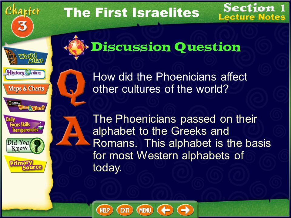 The First Israelites How did the Phoenicians affect other cultures of the world