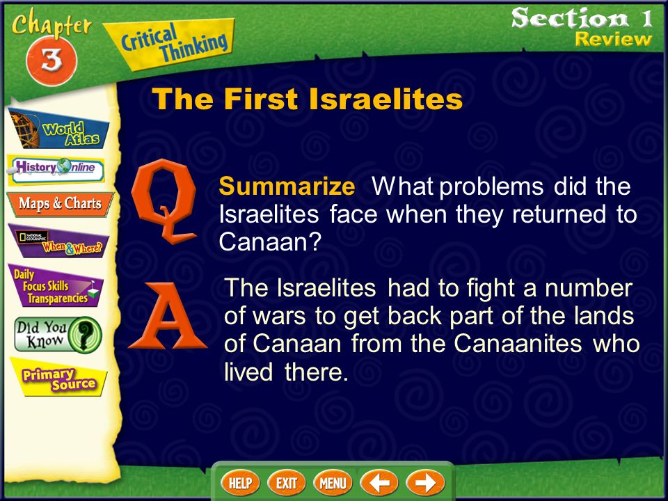 The First Israelites Summarize What problems did the Israelites face when they returned to Canaan