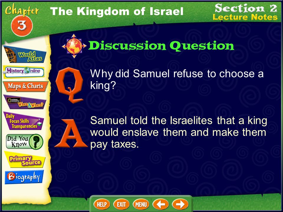 The Kingdom of Israel Why did Samuel refuse to choose a king.