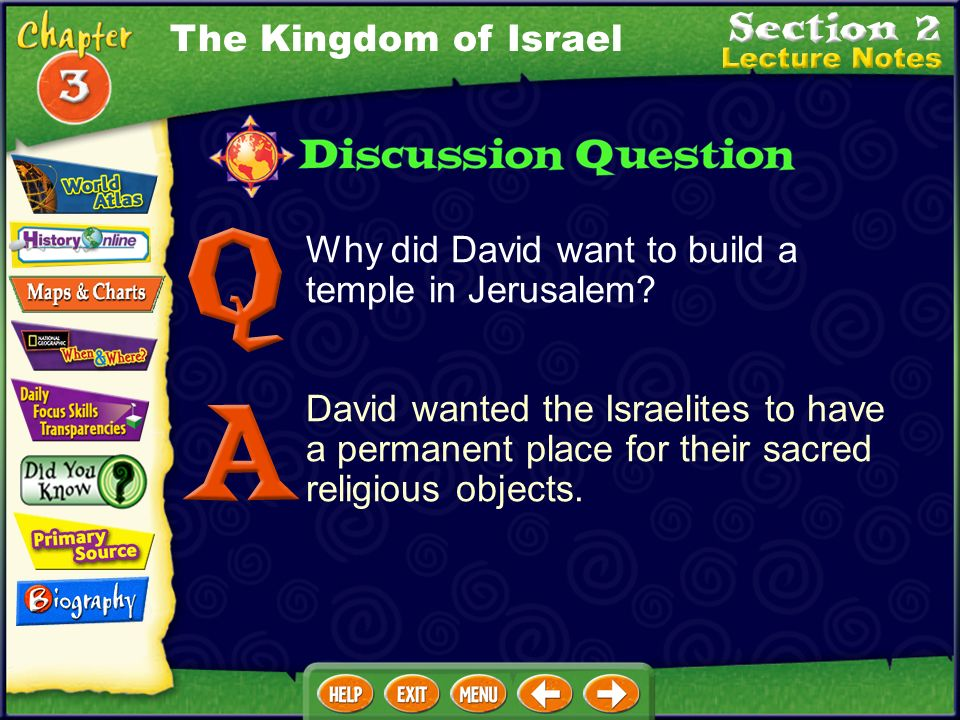 The Kingdom of Israel Why did David want to build a temple in Jerusalem