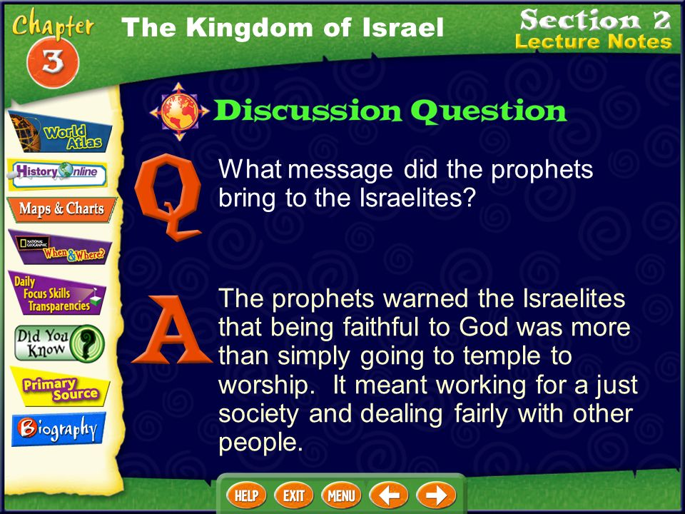 The Kingdom of Israel What message did the prophets bring to the Israelites