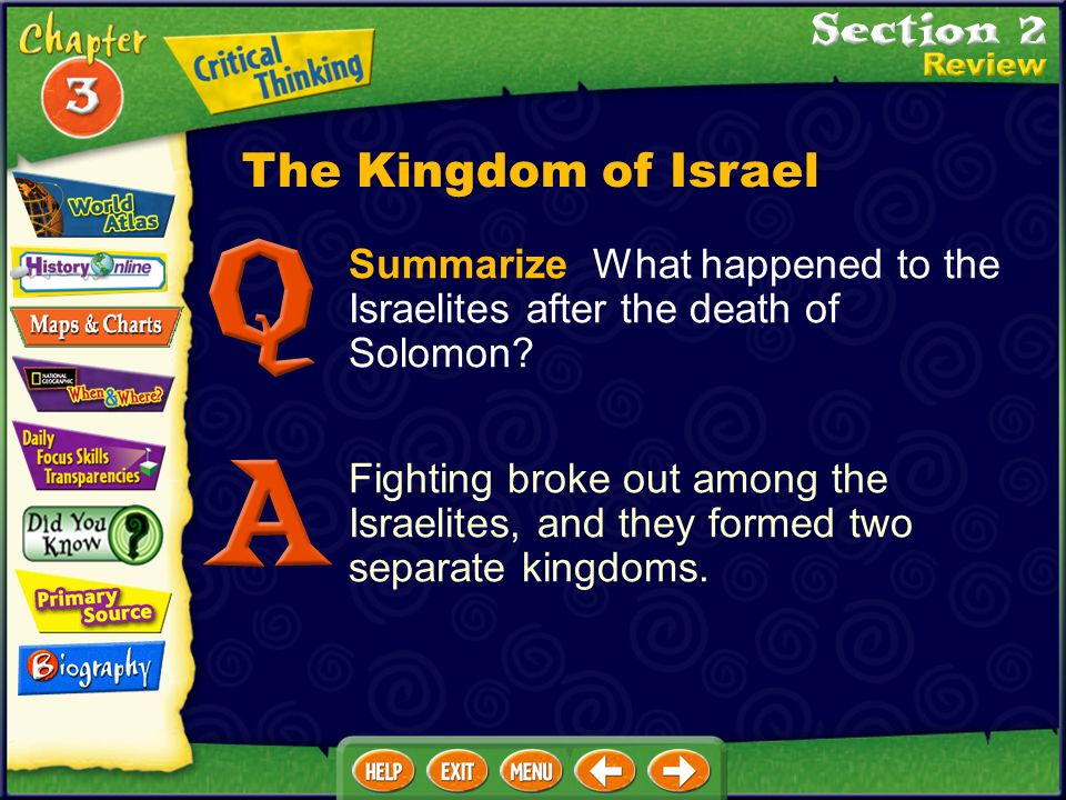 The Kingdom of Israel Summarize What happened to the Israelites after the death of Solomon