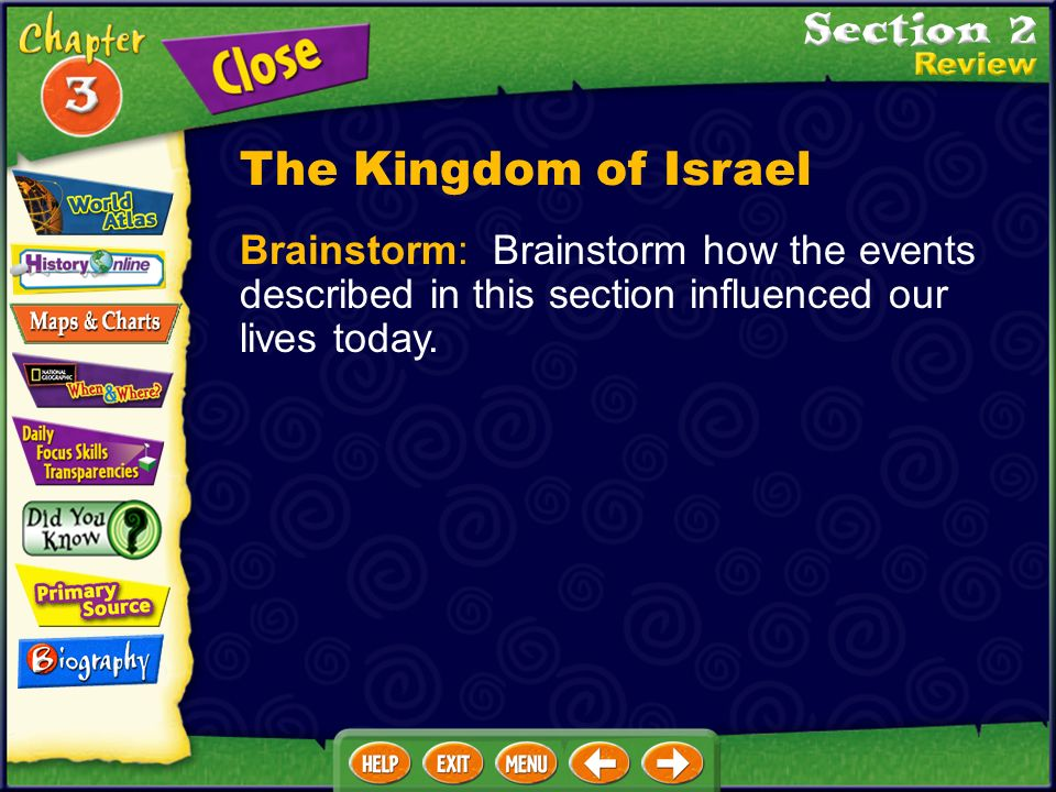 The Kingdom of Israel Brainstorm: Brainstorm how the events described in this section influenced our lives today.