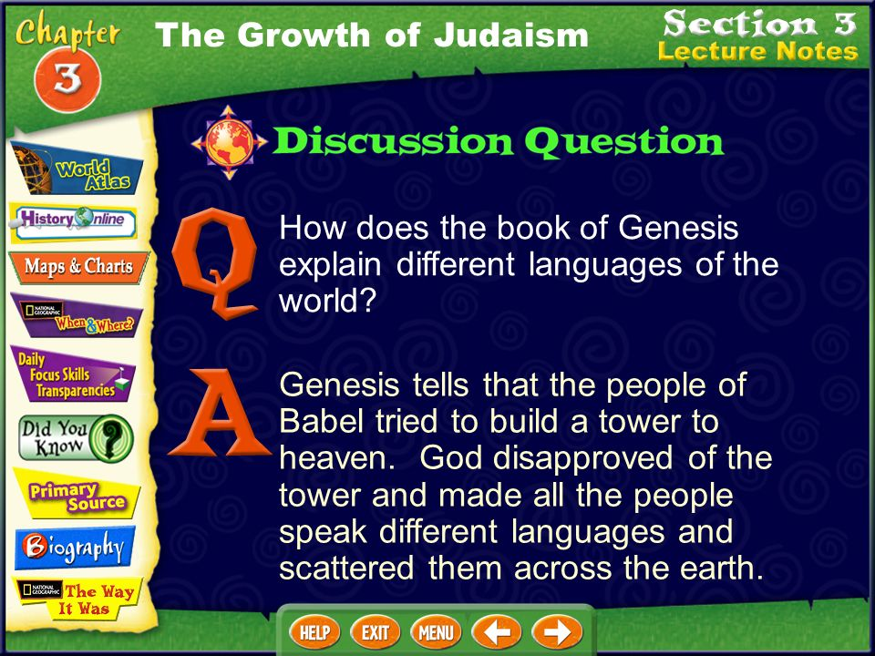 The Growth of Judaism How does the book of Genesis explain different languages of the world