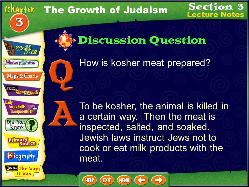 The Growth of Judaism How is kosher meat prepared