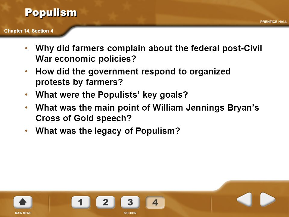 Populism Chapter 14, Section 4. Why did farmers complain about the federal post-Civil War economic policies