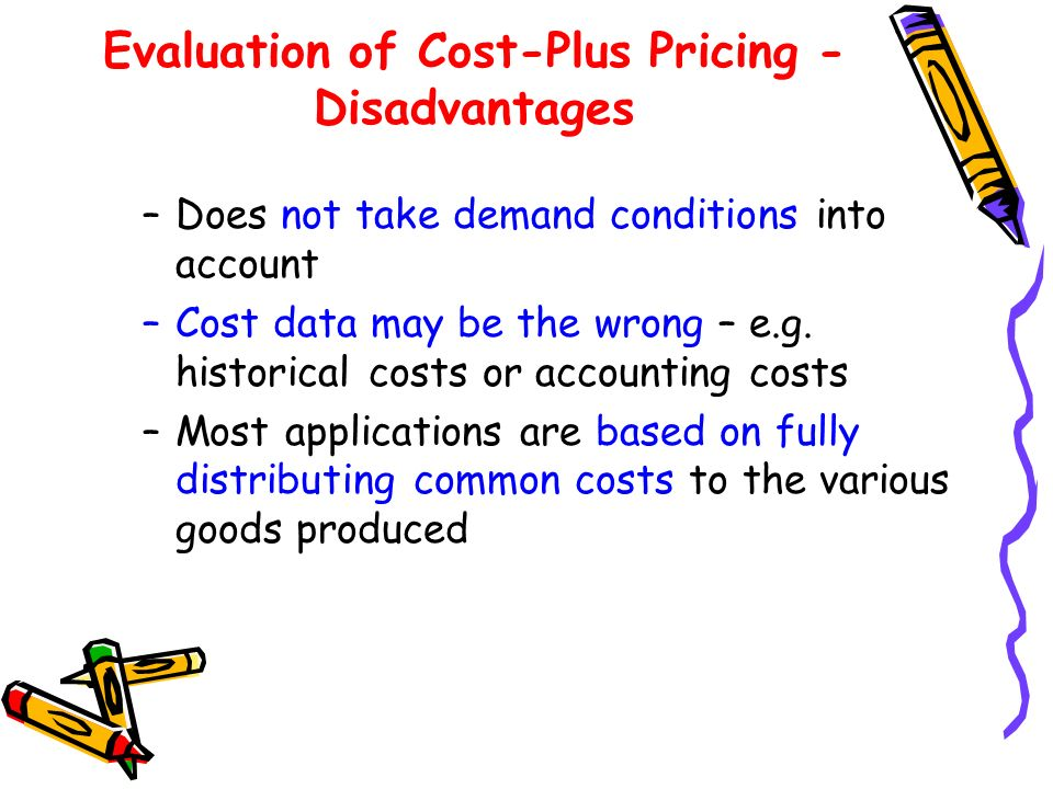 Evaluation of Cost-Plus Pricing - Disadvantages