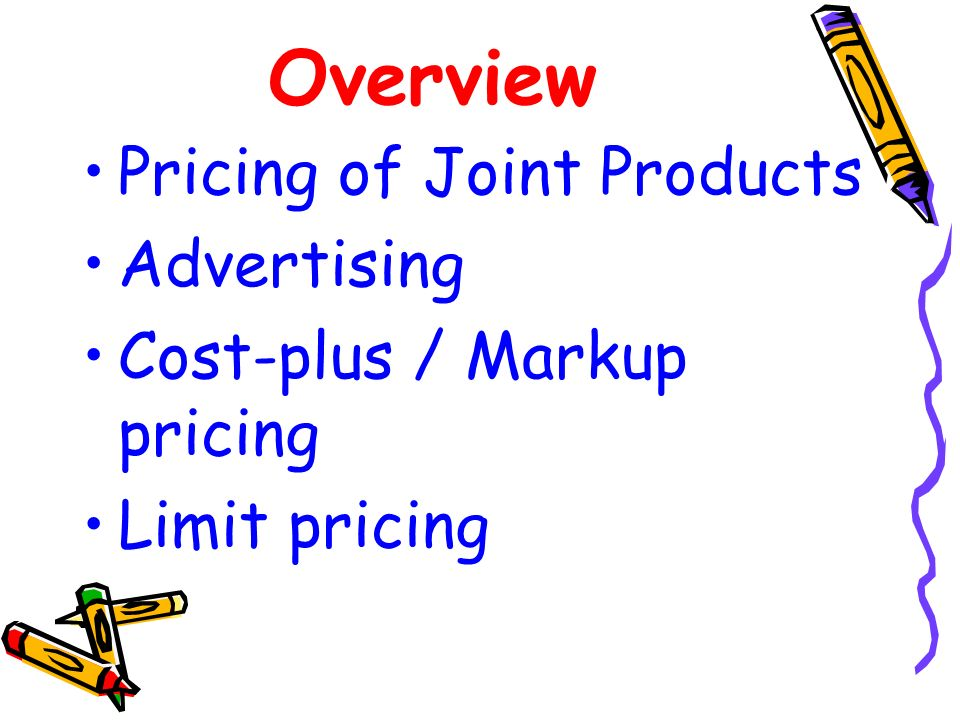 Overview Pricing of Joint Products Advertising
