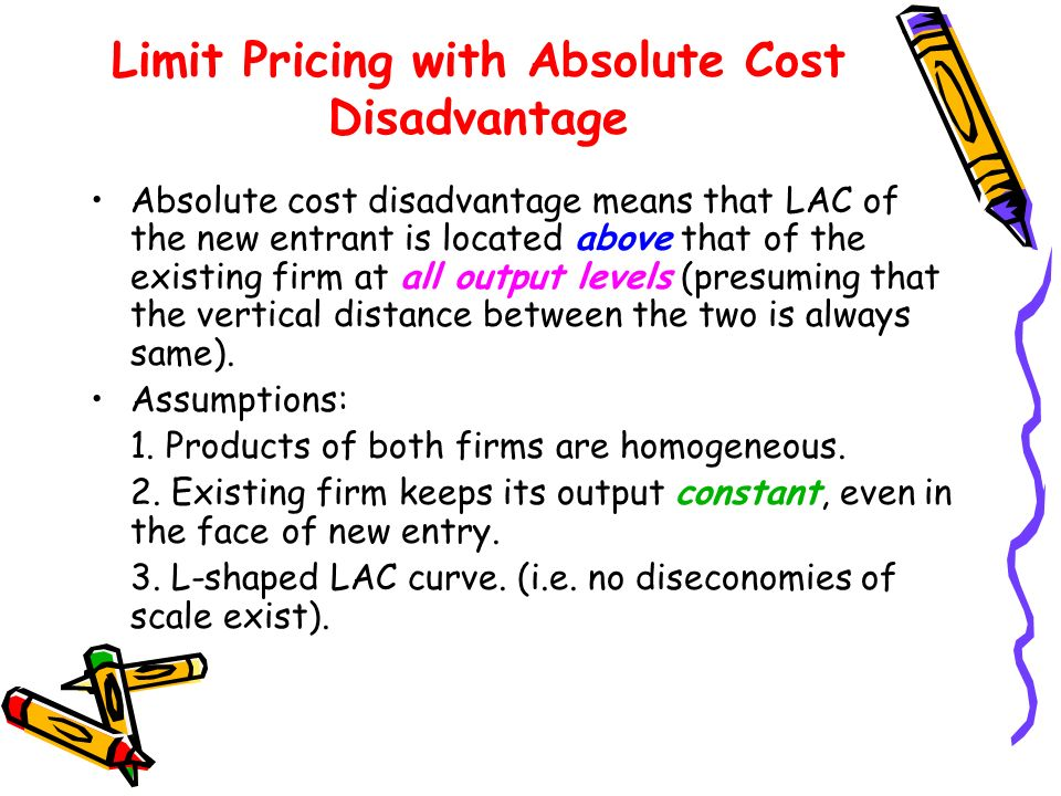 Limit Pricing with Absolute Cost Disadvantage