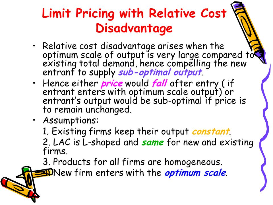 Limit Pricing with Relative Cost Disadvantage