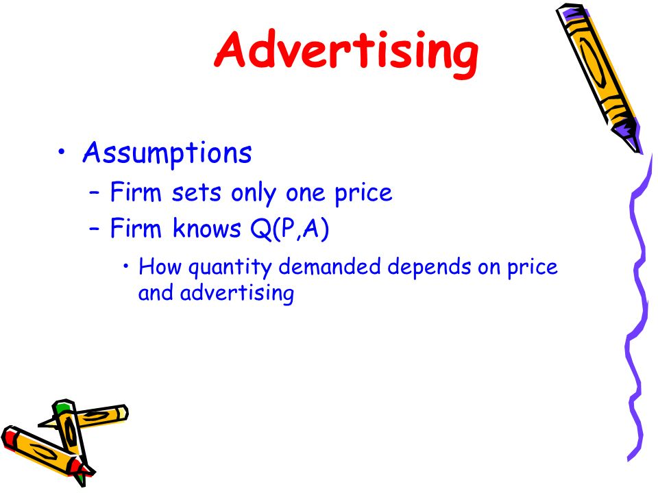 Advertising Assumptions Firm sets only one price Firm knows Q(P,A)