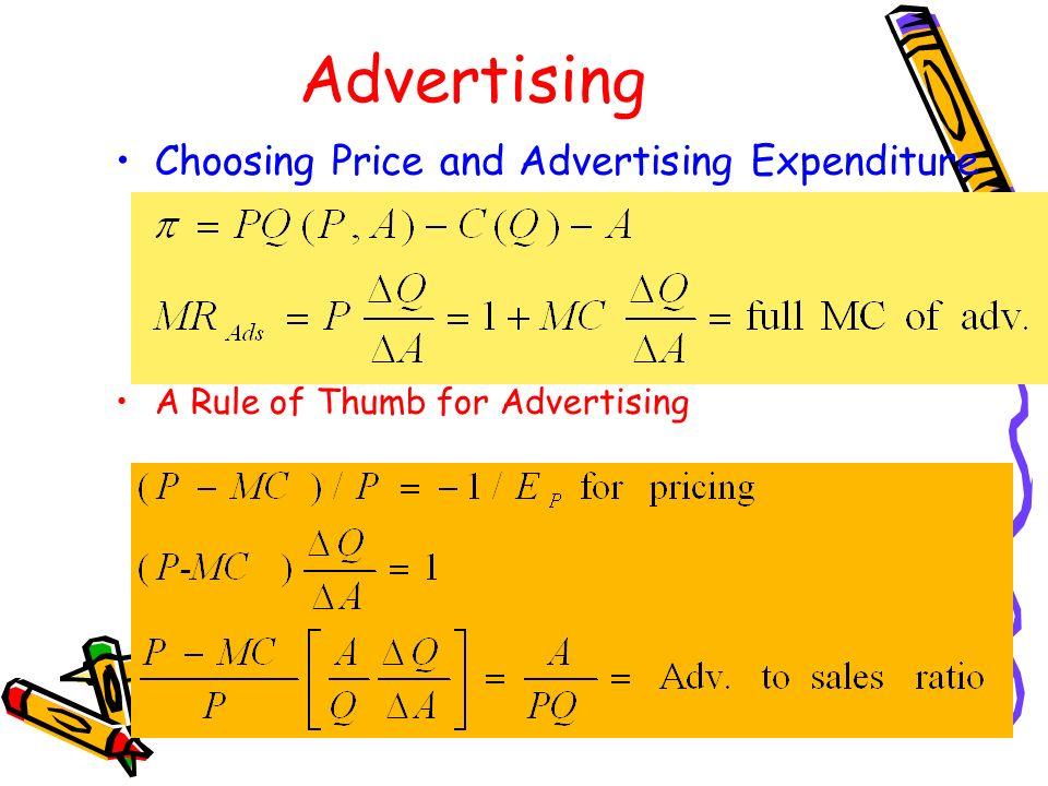 Advertising Choosing Price and Advertising Expenditure