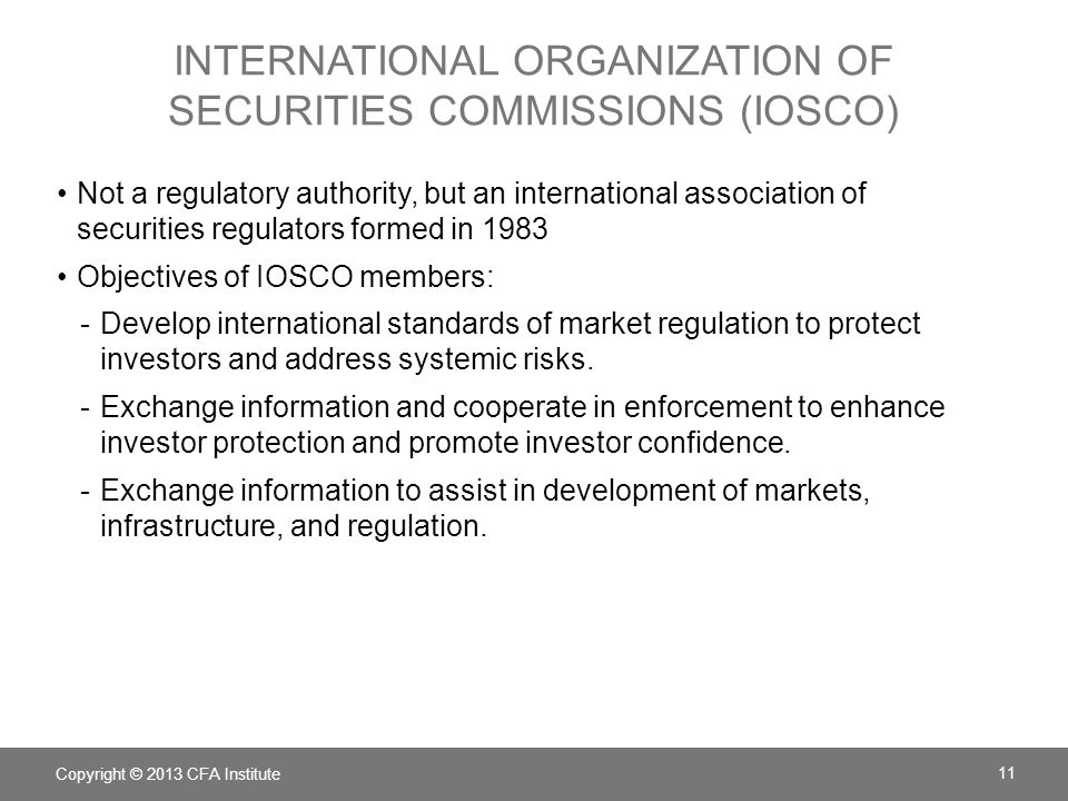 International Organization of Securities Commissions (IOSCO)
