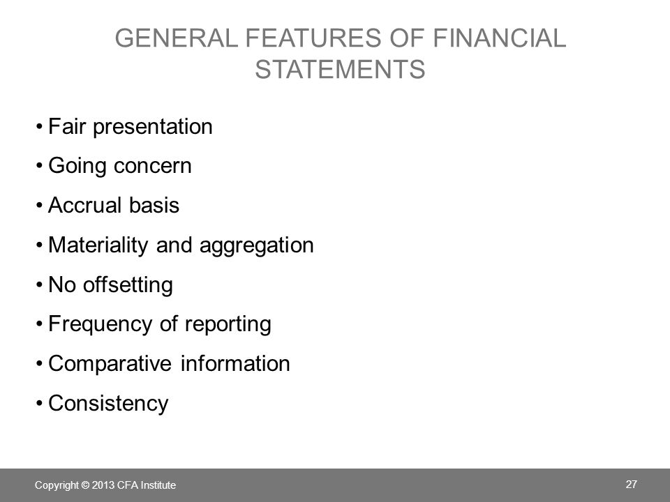 general features of financial statements
