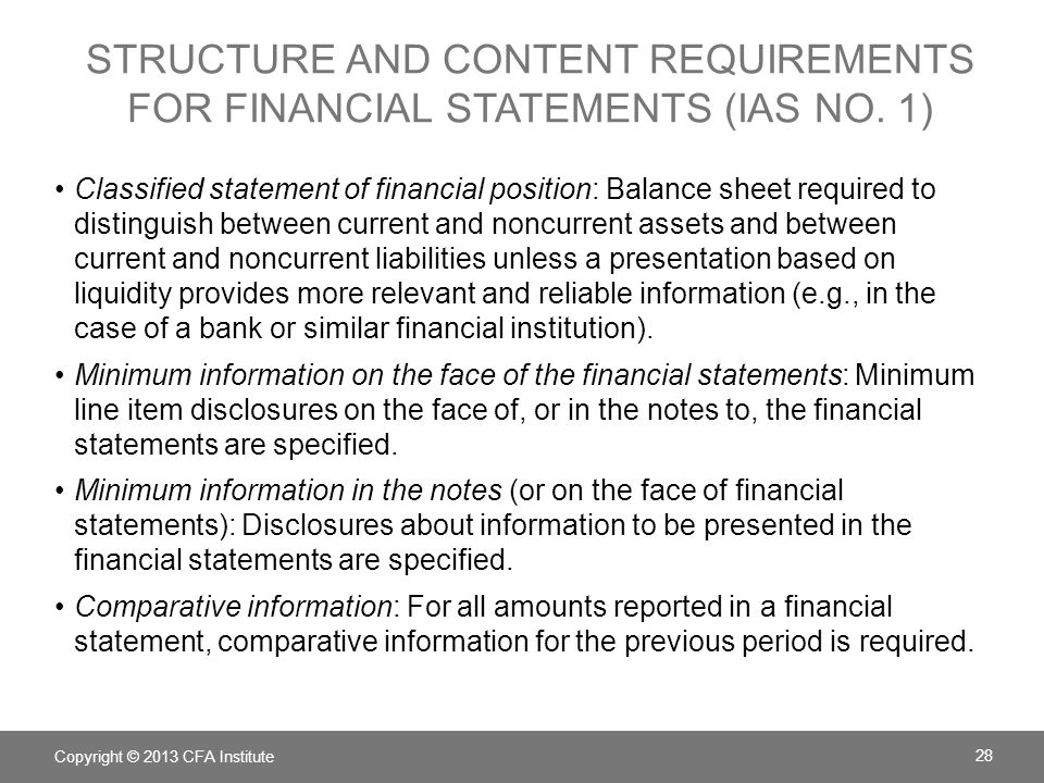 Structure and Content Requirements for financial statements (IAS No. 1)