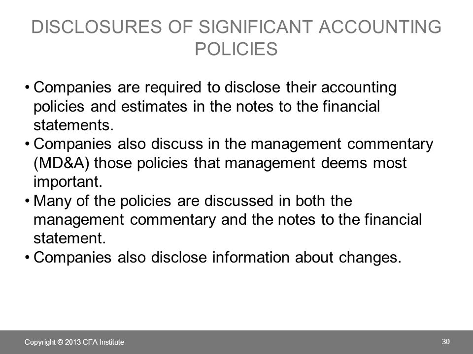 Disclosures of significant accounting policies