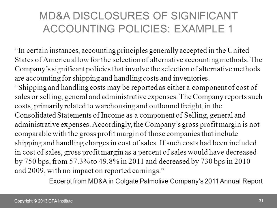 MD&A Disclosures of significant accounting policies: example 1