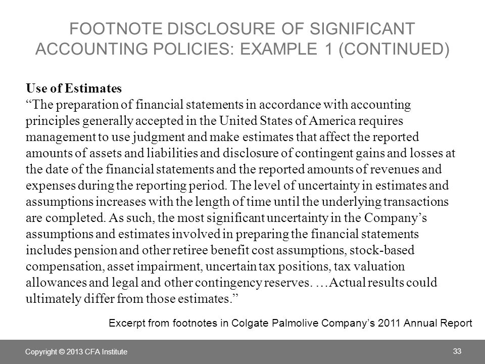 Footnote Disclosure of significant accounting policies: example 1 (continued)