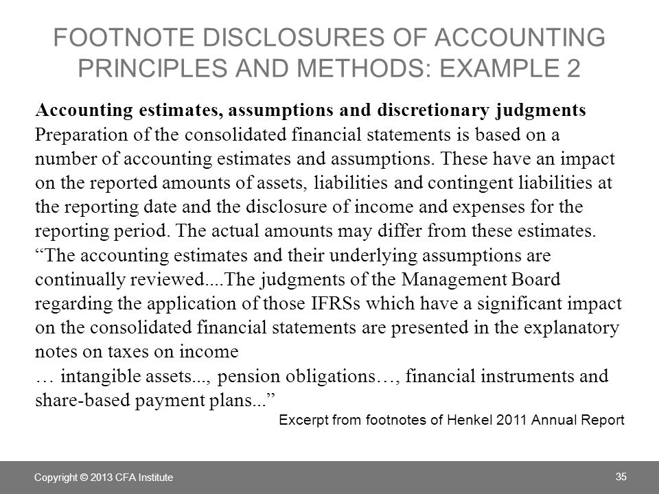 Footnote Disclosures of accounting principles and methods: example 2
