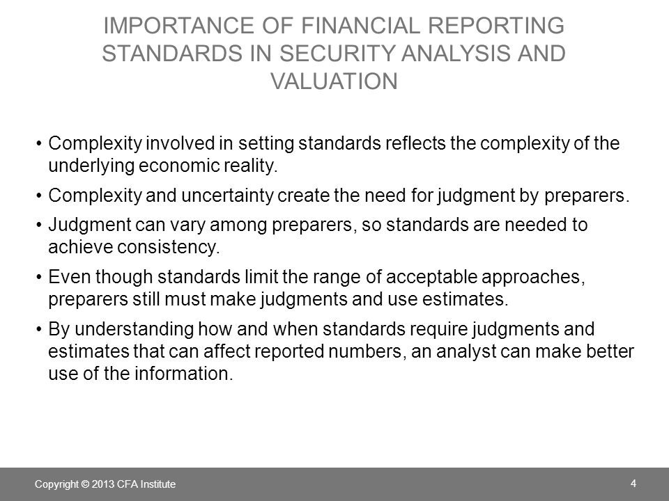importance of financial reporting standards in security analysis and valuation