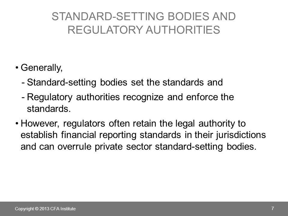 standard-setting bodies and regulatory authorities