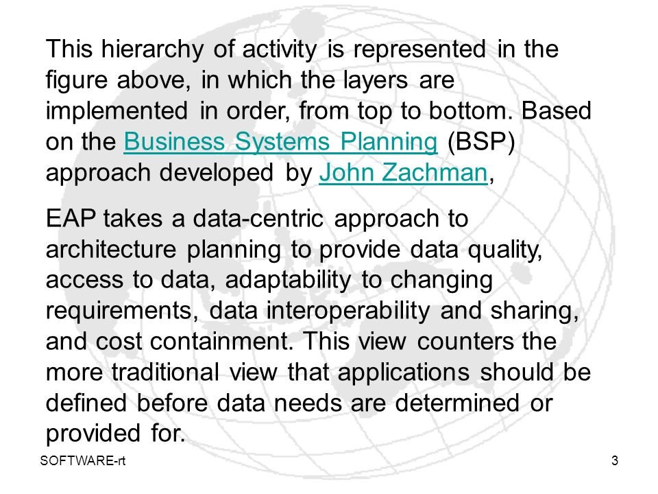 This hierarchy of activity is represented in the figure above, in which the layers are implemented in order, from top to bottom. Based on the Business Systems Planning (BSP) approach developed by John Zachman,