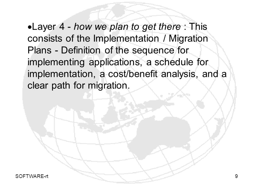 Layer 4 - how we plan to get there : This consists of the Implementation / Migration Plans - Definition of the sequence for implementing applications, a schedule for implementation, a cost/benefit analysis, and a clear path for migration.