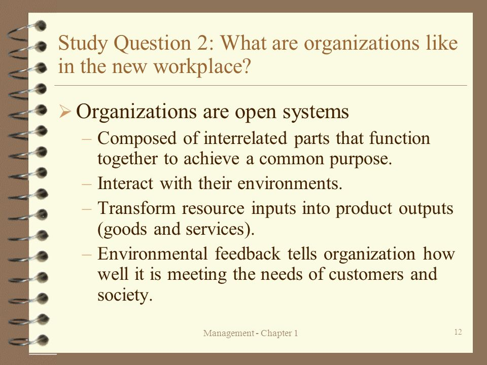 Study Question 2: What are organizations like in the new workplace