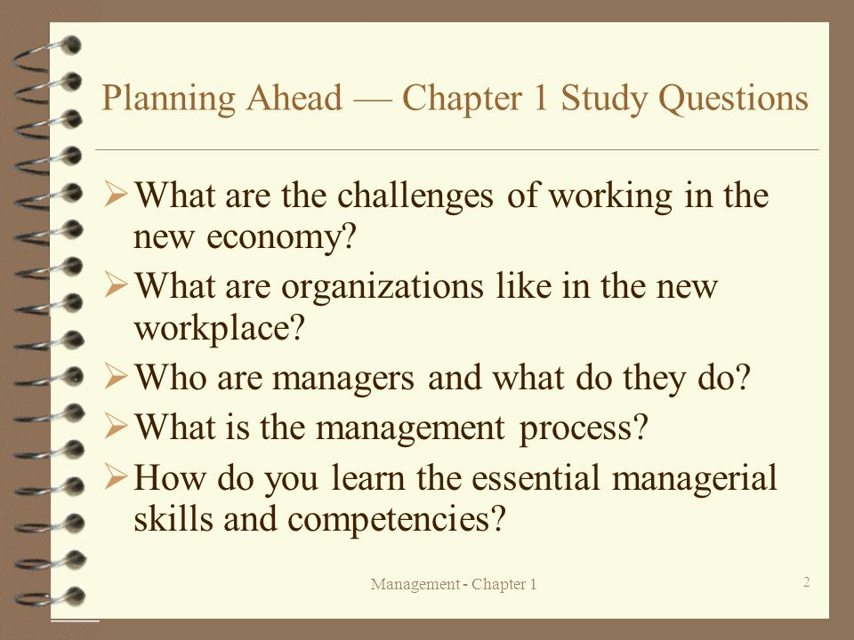 Planning Ahead — Chapter 1 Study Questions