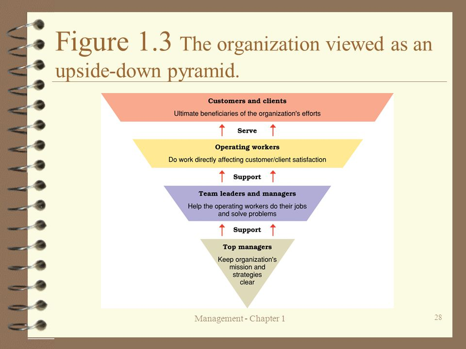 Figure 1.3 The organization viewed as an upside-down pyramid.