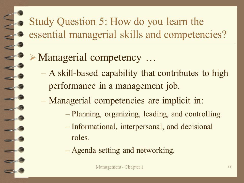 Managerial competency …
