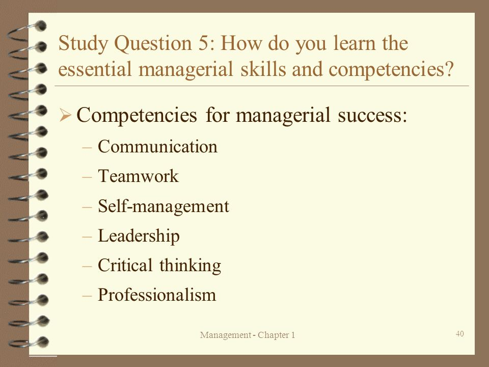 Competencies for managerial success:
