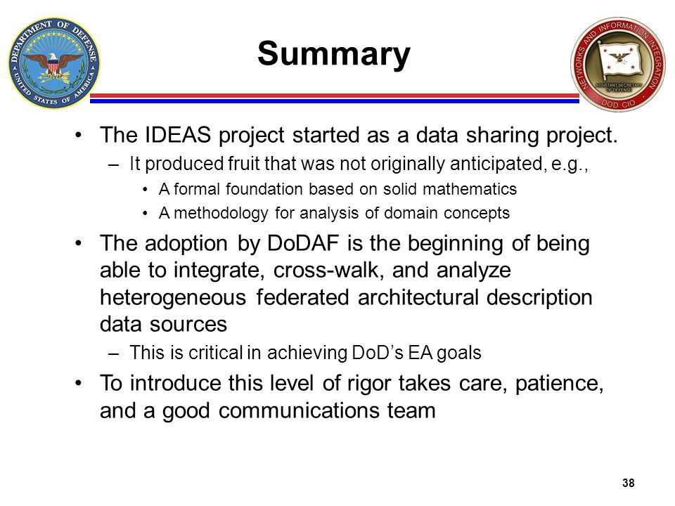 Summary The IDEAS project started as a data sharing project.
