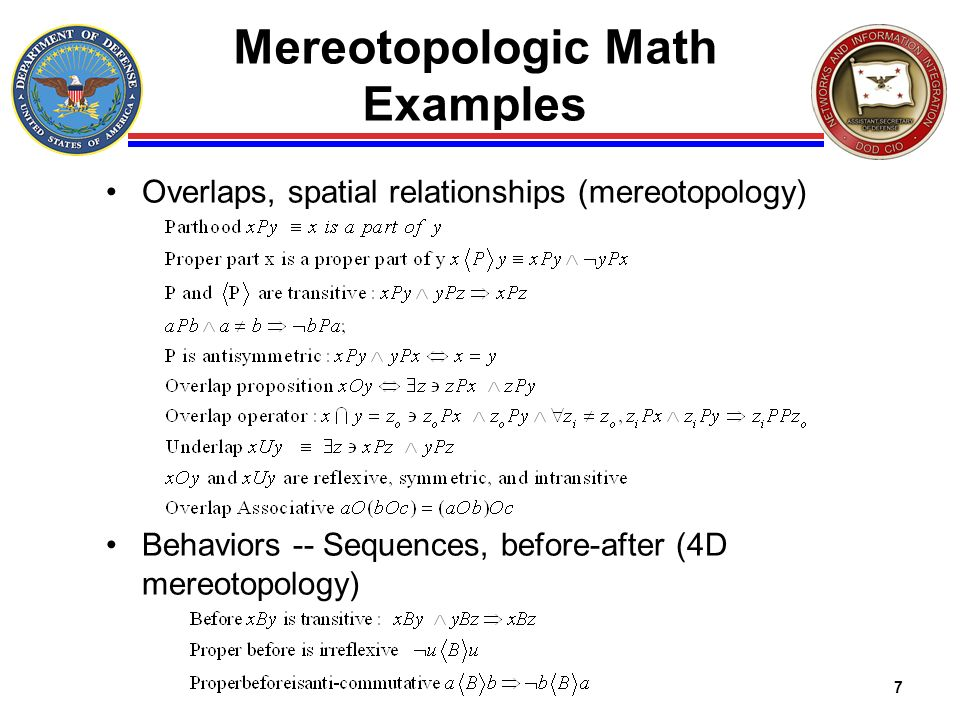 Mereotopologic Math Examples