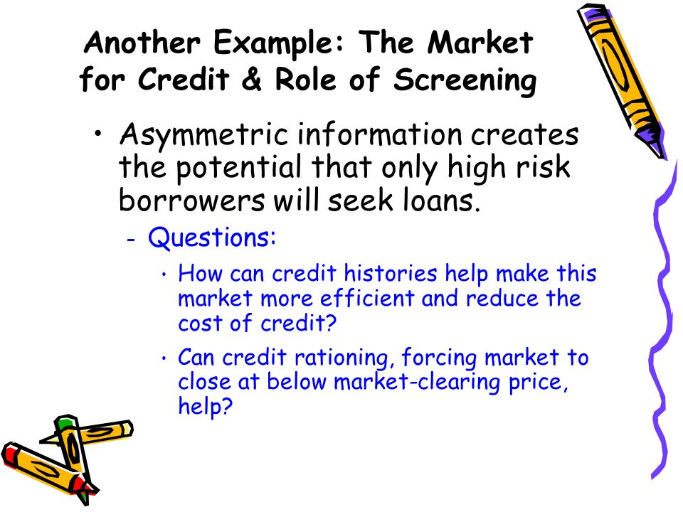 Another Example: The Market for Credit & Role of Screening