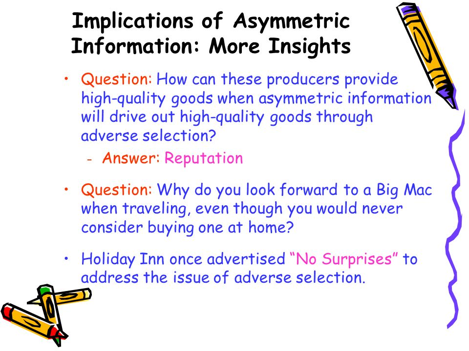 Implications of Asymmetric Information: More Insights