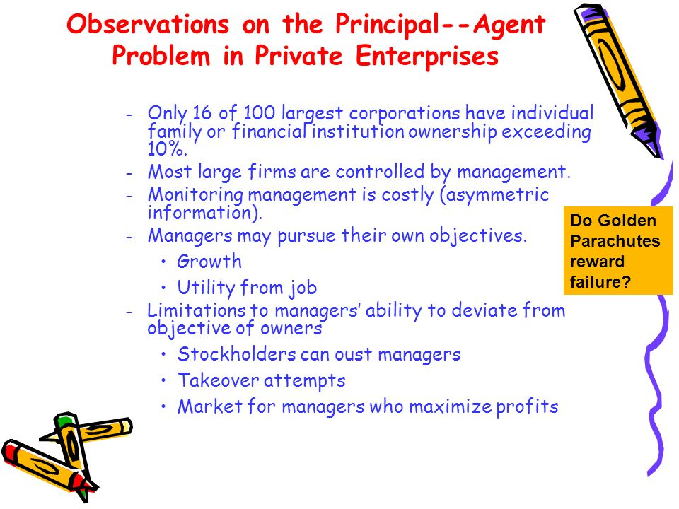 Observations on the Principal--Agent Problem in Private Enterprises