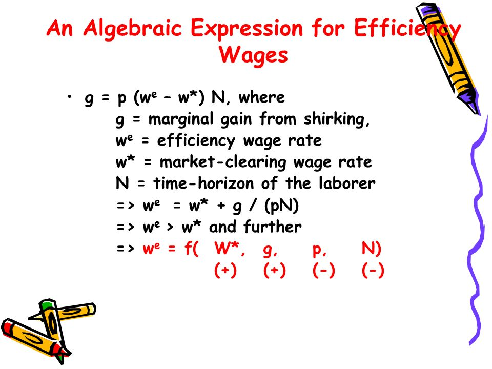 An Algebraic Expression for Efficiency Wages