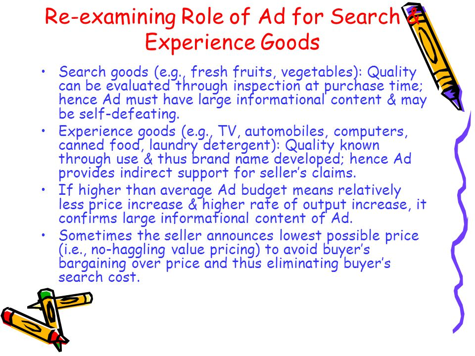 Re-examining Role of Ad for Search & Experience Goods
