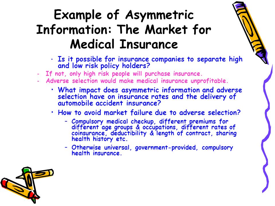 Example of Asymmetric Information: The Market for Medical Insurance