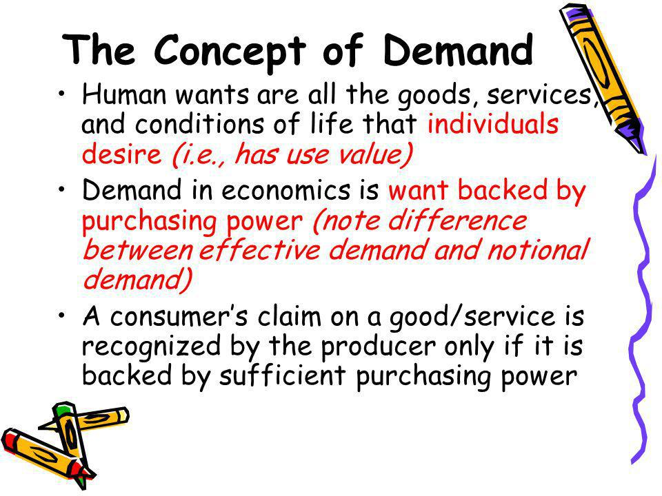 The Concept of Demand Human wants are all the goods, services, and conditions of life that individuals desire (i.e., has use value)