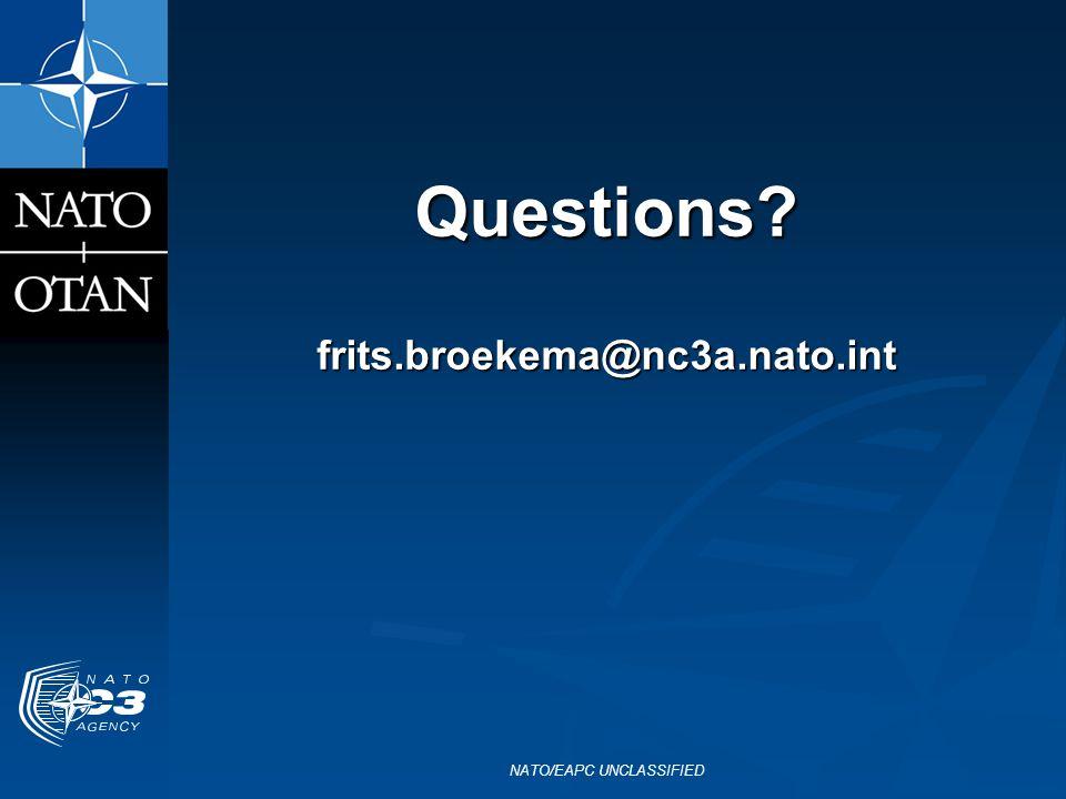 Questions frits.broekema@nc3a.nato.int