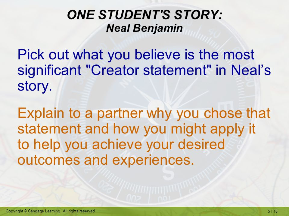 ONE STUDENT S STORY: Neal Benjamin