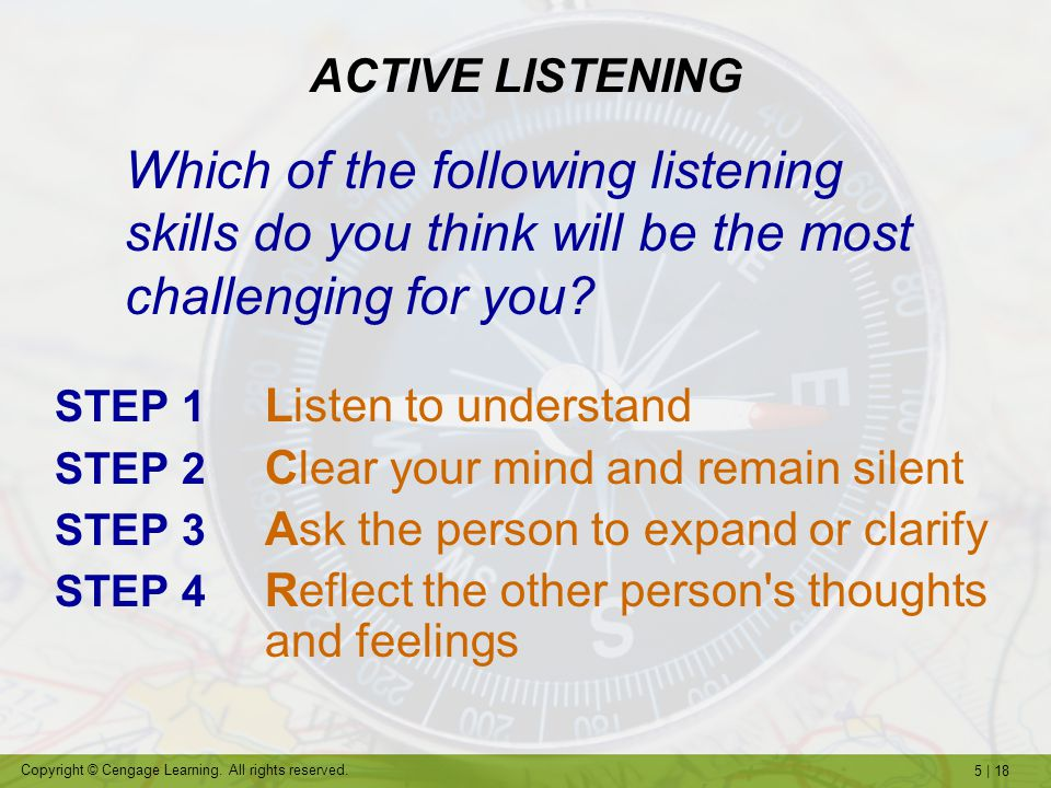 ACTIVE LISTENING Which of the following listening skills do you think will be the most challenging for you