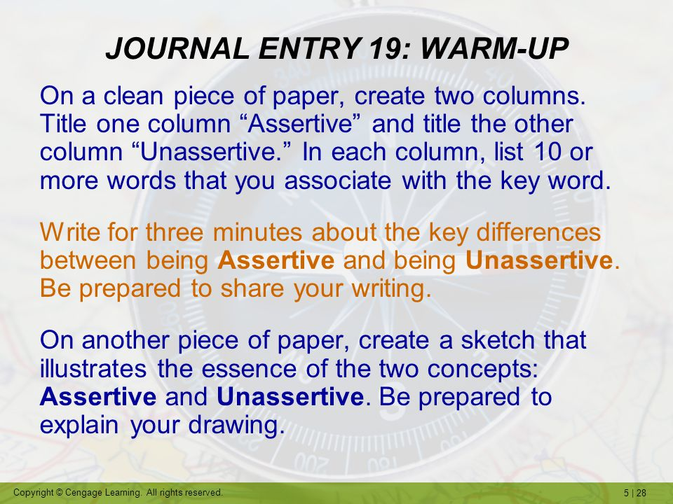 JOURNAL ENTRY 19: WARM-UP