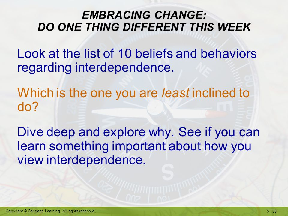 EMBRACING CHANGE: DO ONE THING DIFFERENT THIS WEEK